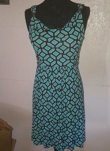 Apt 9 Turquoise Print Sleeveless Tie back Dress